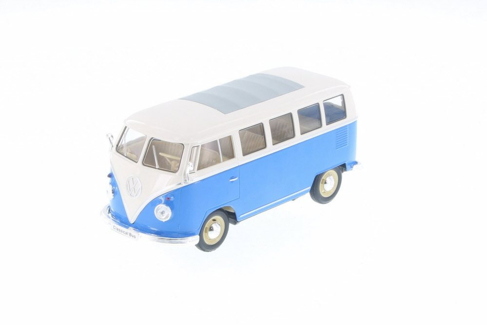 1963 Volkswagen T1 Bus, Blue - Welly 22095/4D - 1/24 Scale Diecast Model Toy Car