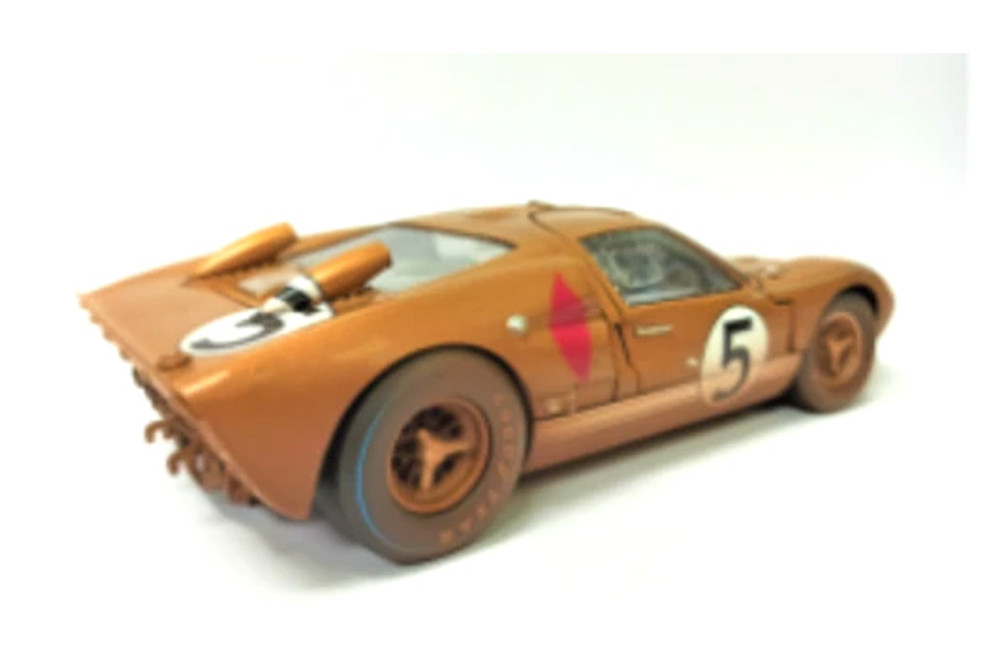 1966 Ford GT-40 MK II #5 After Race (Dirty Version), Gold - Shelby Collectibles SC430G - 1/18 scale Diecast Model Toy Car