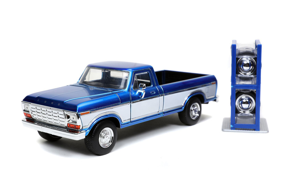 1979 Ford F-150 Custom Pickup Truck with Extra Wheels, Candy Blue and White - Jada Toys 32309/4 - 1/24 scale Diecast Model Toy Car