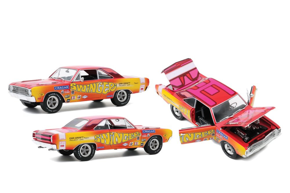 1969 Dodge Dart 340 - Swinger- Car Craft Project Car, Pink and Red and Yellow - Greenlight HWY18024 - 1/18 scale Diecast Model Toy Car
