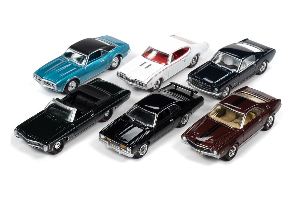 Johnny Lightning Muscle Cars USA 2020 Release 1 Set B Diecast Car Set - Box of 6 assorted 1/64 Scale Diecast Model Cars