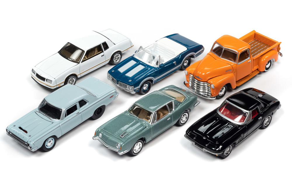 Johnny Lightning Classic Gold 2020 Release 2 Set A Diecast Car Set - Box of 6 assorted 1/64 Scale Diecast Model Cars