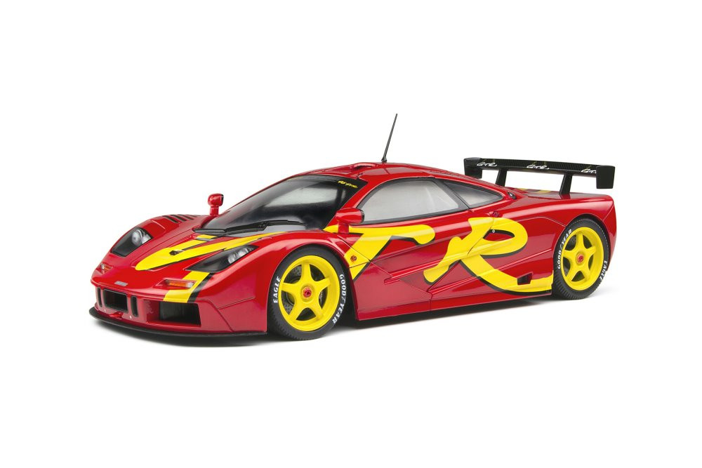 1996 McLaren F1 GTR Short Tail Launch Livery, Red and Yellow - Solido S1804102 - 1/18 scale Diecast Model Toy Car