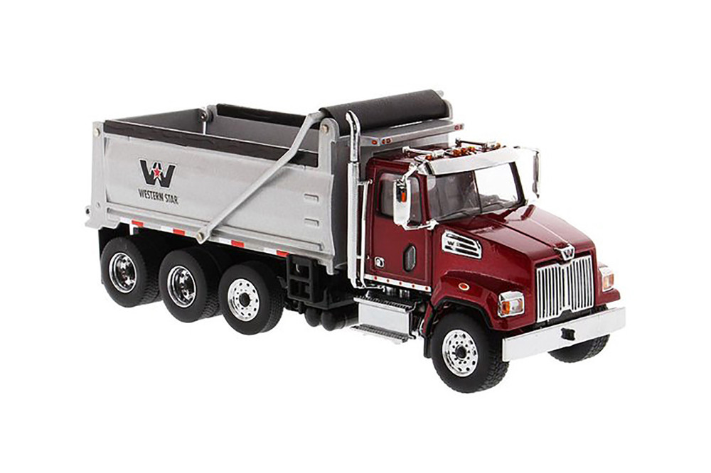 Western Star 4700 SFFA Dump Truck, Red and Silver - Diecast Masters 71032 - 1/50 scale Diecast Model Toy Car