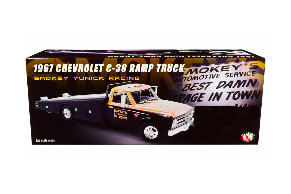 1967 Chevy C30 Ramp Truck Smokey Yunick Racing, Black and Gold - Acme A1801703 - 1/18 scale Diecast Model Toy Car