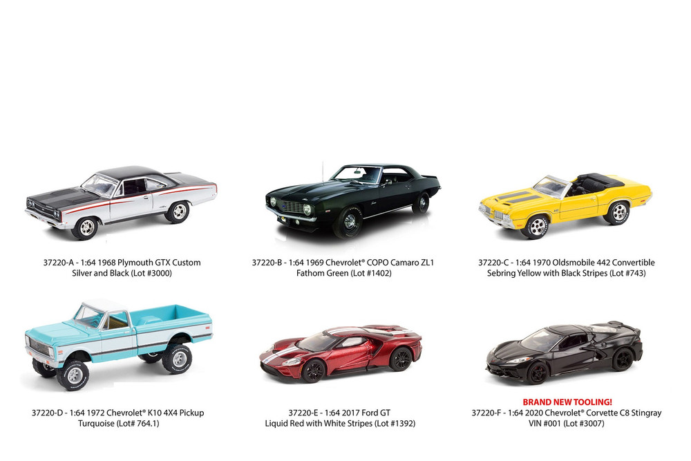 Greenlight Barrett Jackson Scottsdale Series 6 Assortment Diecast Car Set - Box of 6 assorted 1/64 Scale Diecast Model Cars