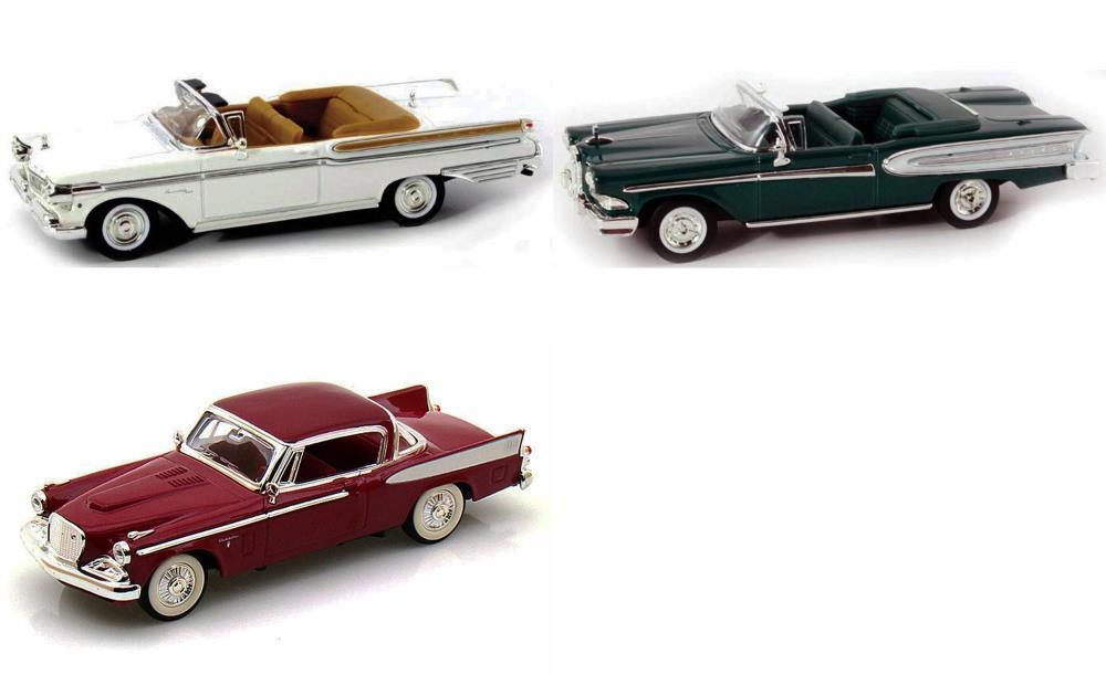 1950s Classics Diecast Car Package - Three 1/43 Scale 1950s Classics Diecast Model Cars