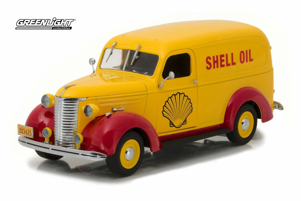 1939 Chevy Panel Truck, Yellow - Greenlight 18237 - 1/24 Scale Diecast Model Toy Car