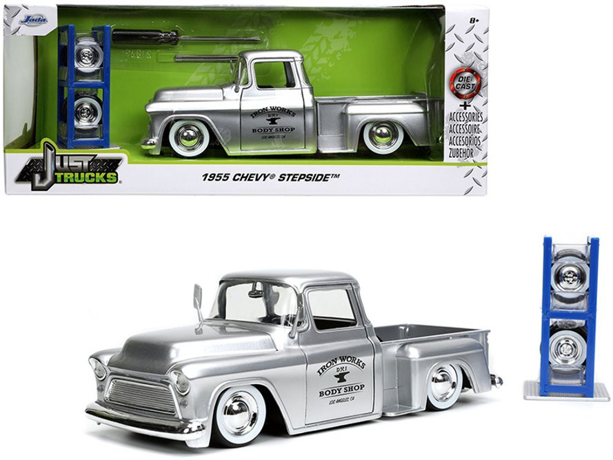 """1955 Chevy Stepside Pickup """"Iron Works Body Shop"""" with Extra Wheels, Silver - Jada Toys 32312/4 - 1/24 scale Diecast Model Toy Car"""