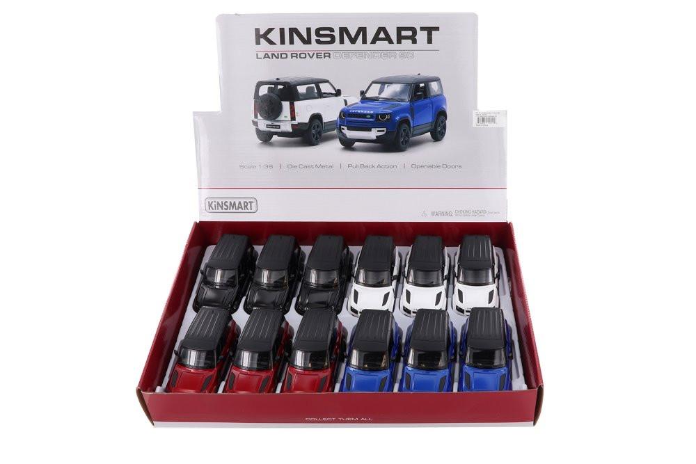 Kinsmart Land Rover Defender 90 Diecast Car Set - Box of 12 1/36 scale Diecast Model Cars, Assorted Colors