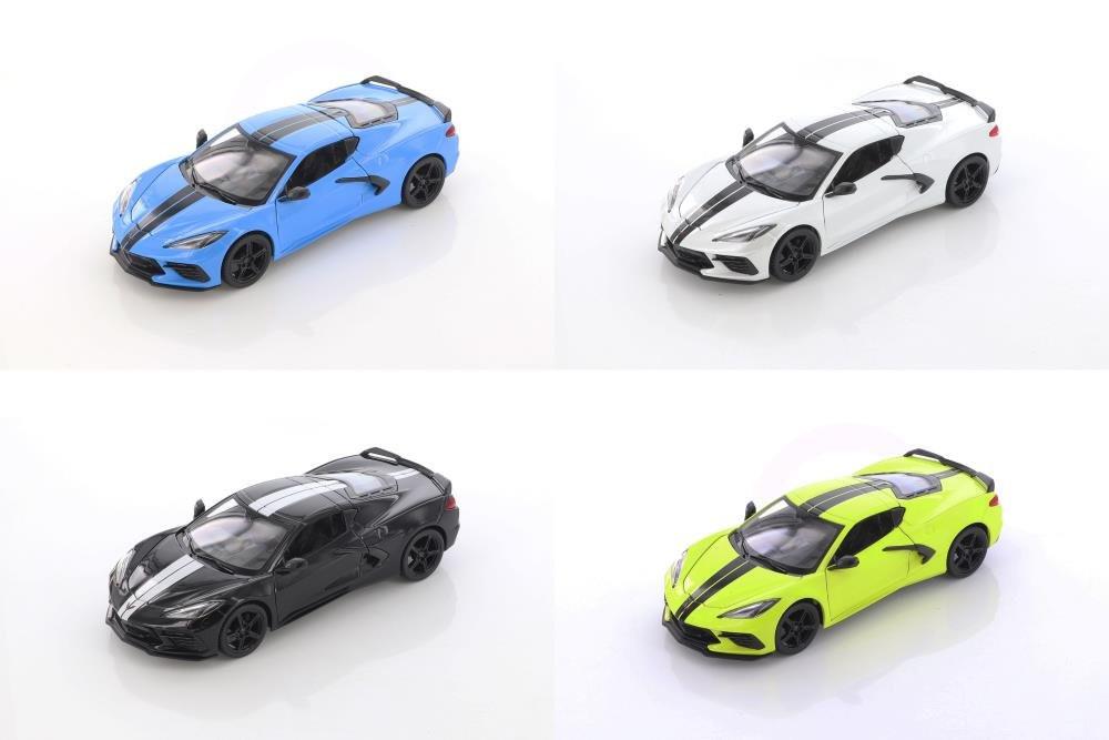 Showcasts 2020 Chevrolet Corvette Stingray Coupe Z51 Diecast Car Set - Box of 4 1/24 scale Diecast Model Cars, Assorted Colors