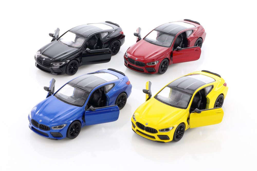 Kinsmart BMW M8 Competition Coupe Diecast Car Set - Box of 12 1/38 scale Diecast Model Cars, Assorted Colors