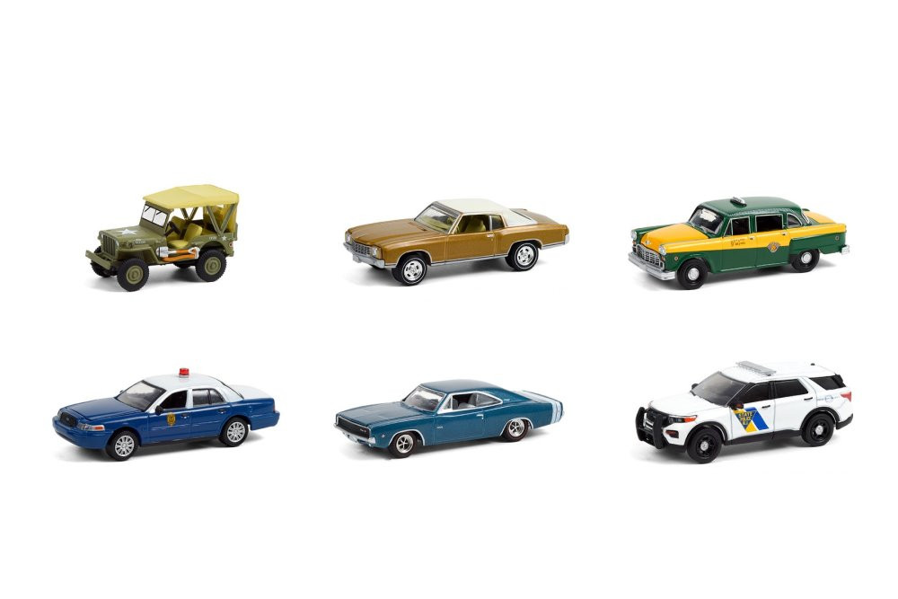Greenlight Anniversary Collection Series 12 Diecast Car Set - Box of 6 assorted 1/64 scale Diecast Model Cars