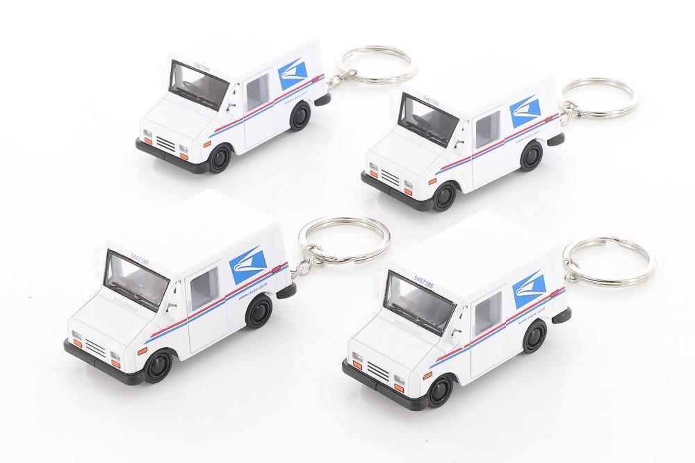 Kinsmart United States Postal Service (USPS) Long Live Postal Mail Delivery Vehicle (LLV) Key Chain Diecast Car Set - Box of 12 assorted 1/72 scale Diecast Model Cars