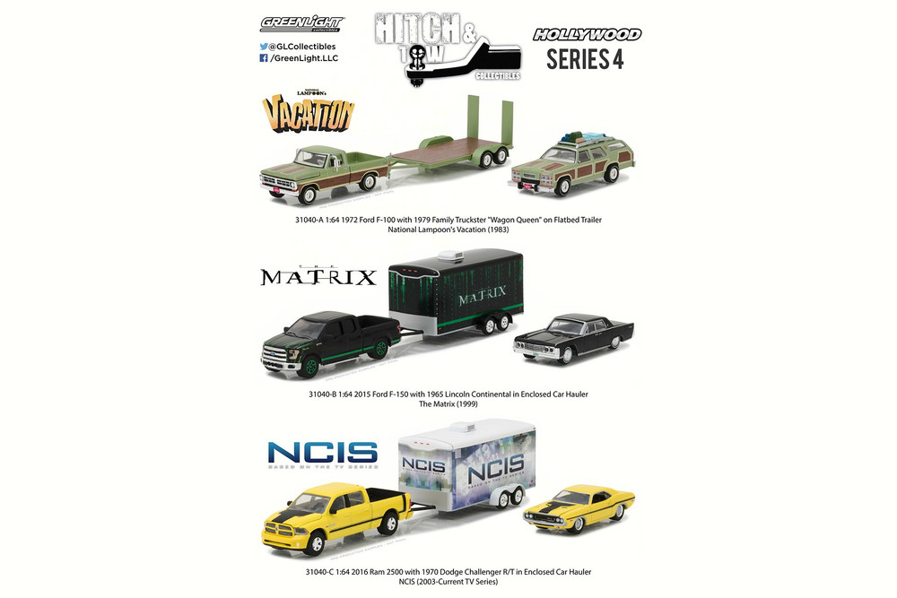 Greenlight - Hollywood Hitch & Tow Series 4 Diecast Car Package - Box of 6 assorted 1/64 Scale Diecast Model Cars - 3 types, 2 pieces each