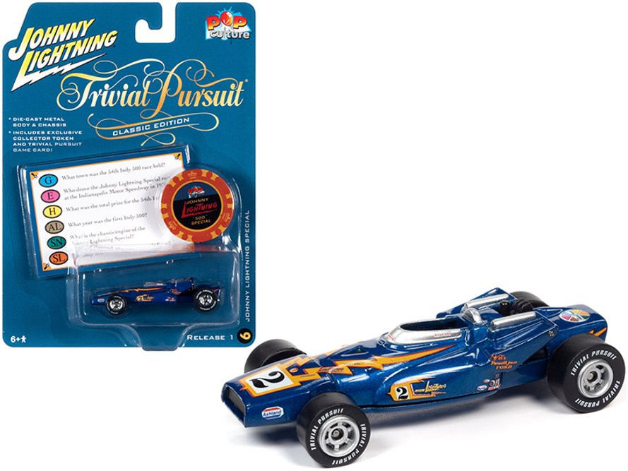 Johnny Lightning Special with Poker Chip (Collector Token) and Game Card, Blue Metallic - Johnny Lightning JLSP137/24 - 1/64 scale Diecast Model Toy Car