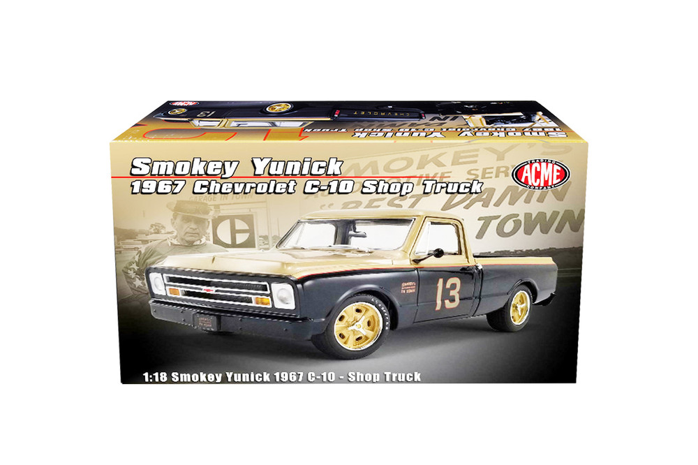 """1967 Chevy C-10 Shop Pickup Truck """"Smokey Yunick"""", Gold and Black - Acme A1807212 - 1/18 scale Diecast Model Toy Car"""