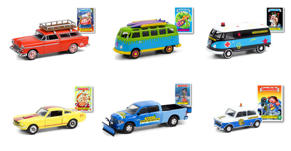 Greenlight Garbage Pail Kids Series 3 Diecast Car Set - Box of 6 assorted 1/64 Scale Diecast Model Cars
