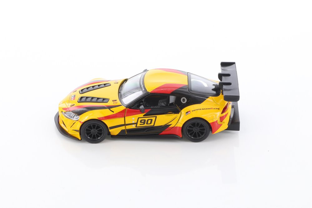 Toyota GR Supra Racing Concept Hardtop with Decals, Yellow - Kinsmart 5421DF - 1/36 scale Diecast Model Toy Car