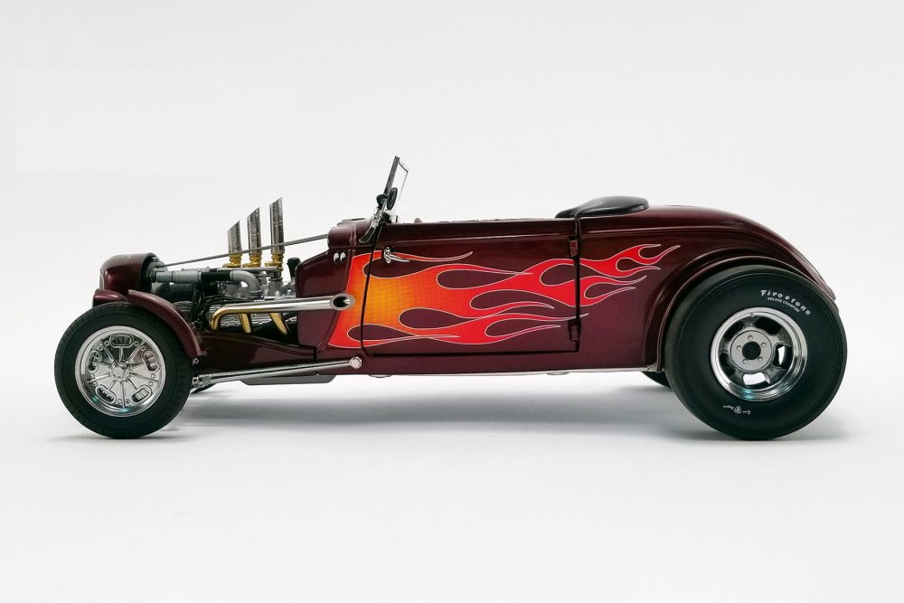 1934 Hot Rod Roadster, Brandywine Red Metallic with Flames - GMP 18926 - 1/18 scale Diecast Model Toy Car