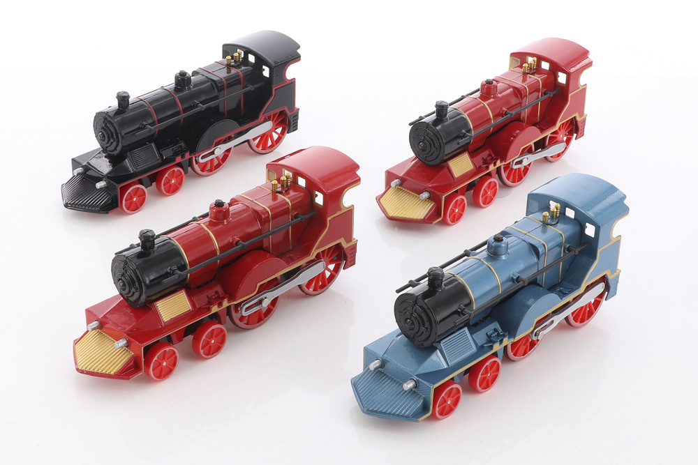 ModelToyCars Classic Trains with Sound and Light Diecast Train Set - Box of 12  Diecast Toy Trains, Assorted Colors