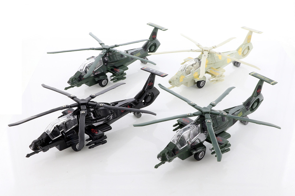 ModelToyCars Stealth Copter with Light & Sounds Diecast Helicopter Set - Box of 6  Diecast Toy Helicopters, Assorted Colors