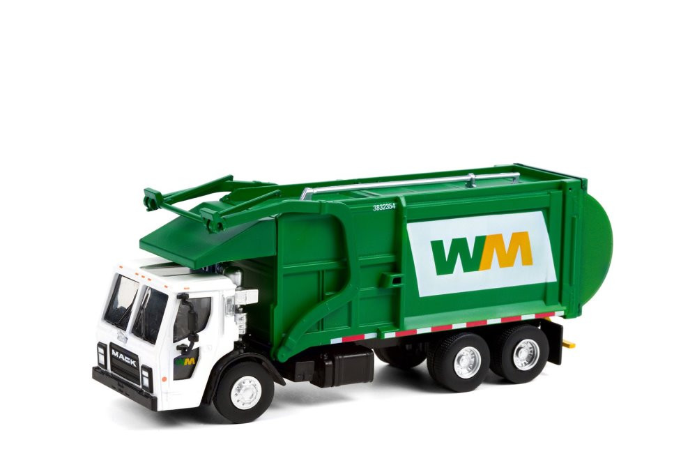 Waste Management 2020 Mack LR Refuse Garbage Truck, White and Green - Greenlight 45120C/48 - 1/64 scale Diecast Model Toy Car