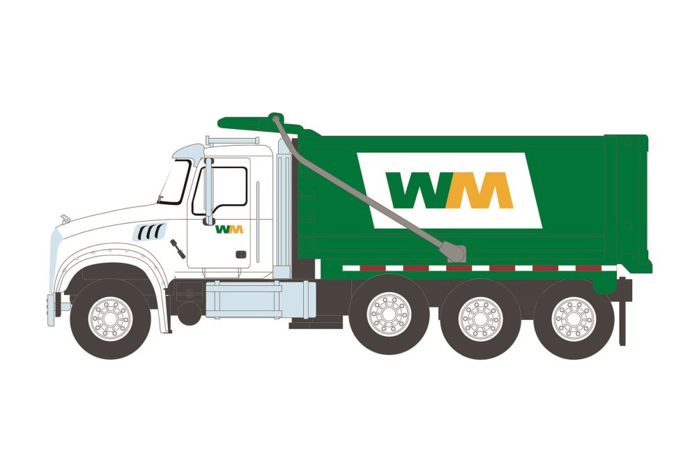 Waste Management 2020 Mack Granite Dump Truck, White and Green - Greenlight 45120B/48 - 1/64 scale Diecast Model Toy Car