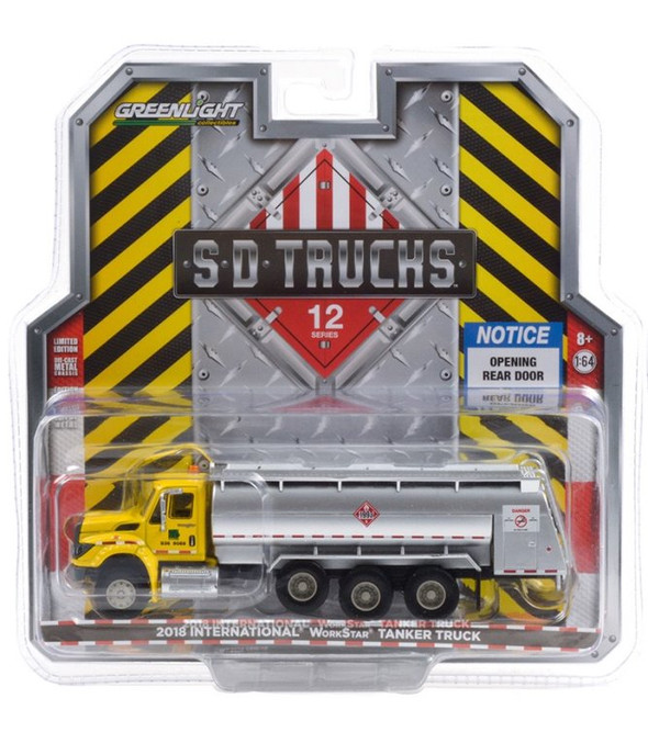 2018 International WorkStar Tanker Truck, Yellow and Silver - Greenlight 45120A/48 - 1/64 scale Diecast Model Toy Car