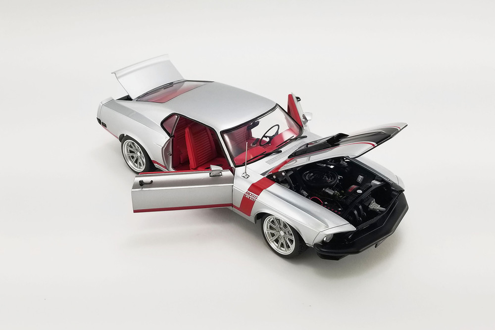 1969 Ford Boss 302 Mustang Street Fighter, Silver and red - Acme A1801842 - 1/18 scale Diecast Model Toy Car