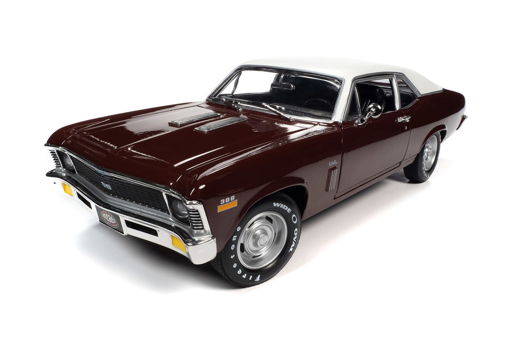 Muscle Car & Corvette Nationals (MCACN) 1970 Chevy Nova SS 396, Black Cherry Red and White - Auto World AMM1230 - 1/18 scale Diecast Model Toy Car