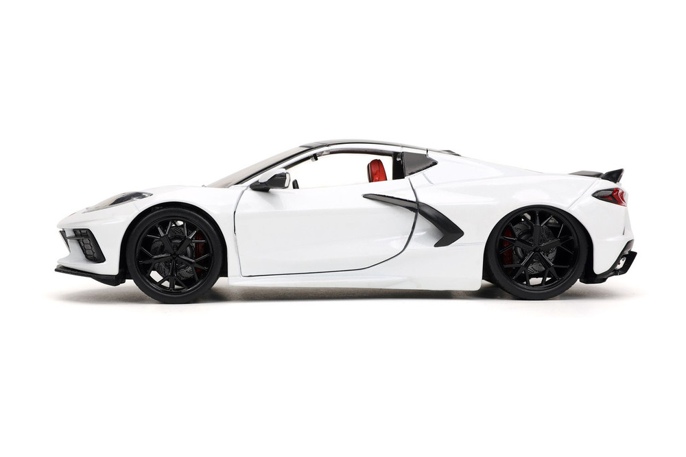 2020 Chevy Corvette Stingray C8, White and Back - Jada Toys 32718/4 - 1/24 scale Diecast Model Toy Car