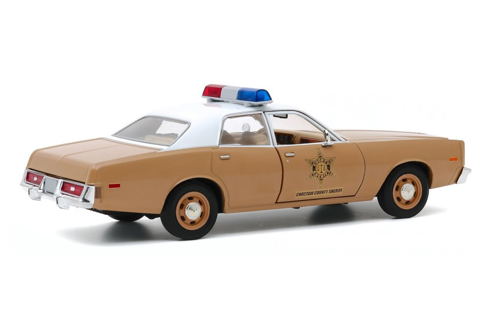 1975 Dodge Coronet Choctaw County Sheriff, Brown and White - Greenlight 84097 - 1/24 scale Diecast Model Toy Car