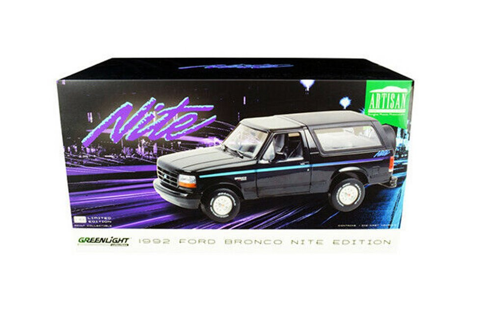 1992 Ford Bronco, Black - Greenlight 19088 - 1/18 scale Diecast Model Toy Car