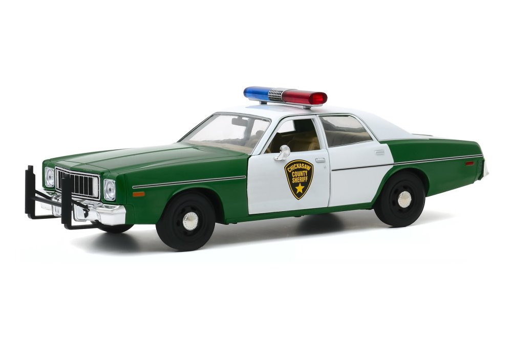 1975 Plymouth Fury Chickasaw County Sheriff, Green and White - Greenlight 84096 - 1/24 scale Diecast Model Toy Car