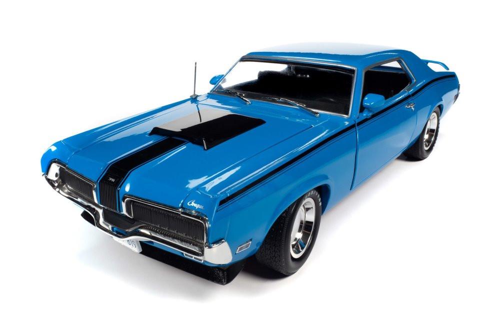 Muscle Car & Corvette Nationals (MCACN) 1970 Mercury Cougar Eliminator, Blue and Black - Auto World AMM1253 - 1/18 scale Diecast Model Toy Car