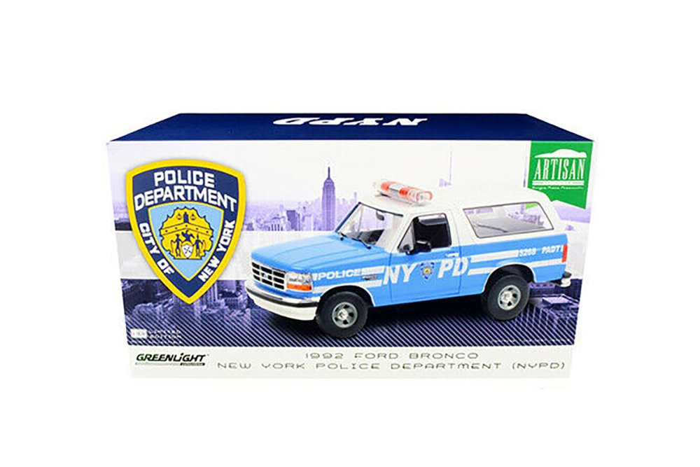 New York City Police Department 1992 Ford Bronco Police Car, Light Blue and White - Greenlight 19087 - 1/18 scale Diecast Model Toy Car