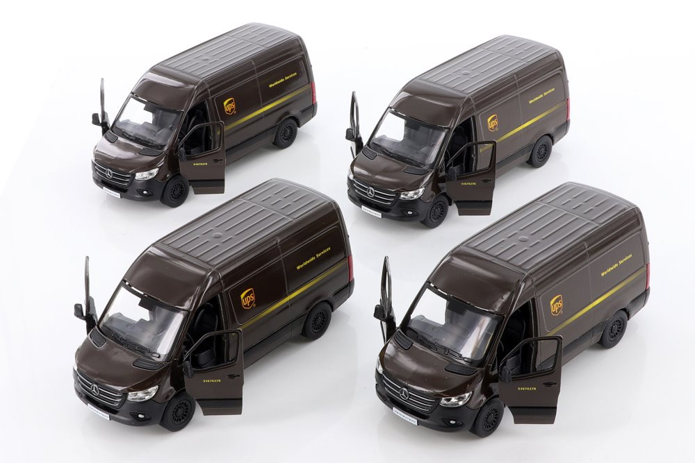 Kinsmart Mercedes-Benz Sprinter UPS Delivery Van Diecast Car Set - Box of 12 assorted 1/48 scale Diecast Model Cars