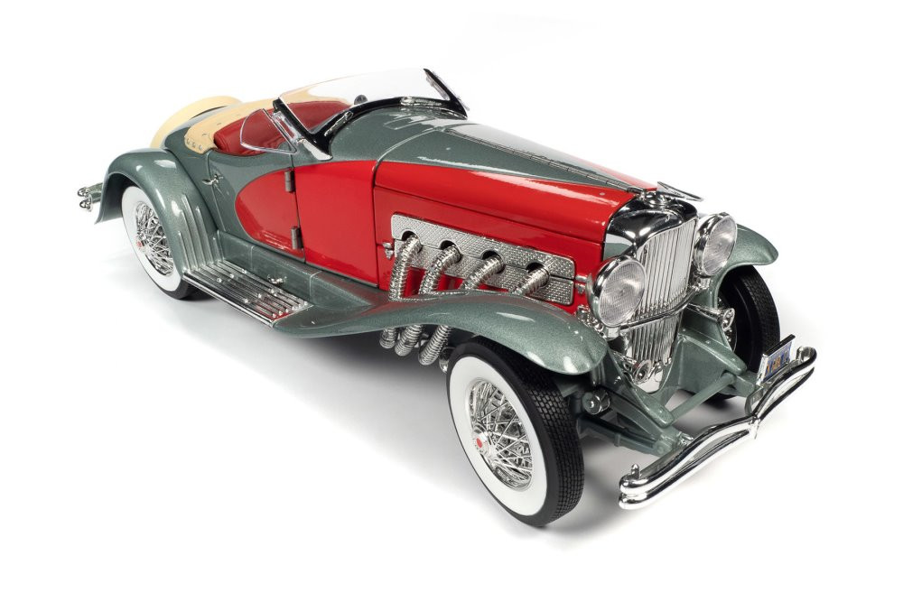1935 Duesenberg SSJ Speedster, Silver and Red - Auto World AW279 - 1/18 scale Diecast Model Toy Car