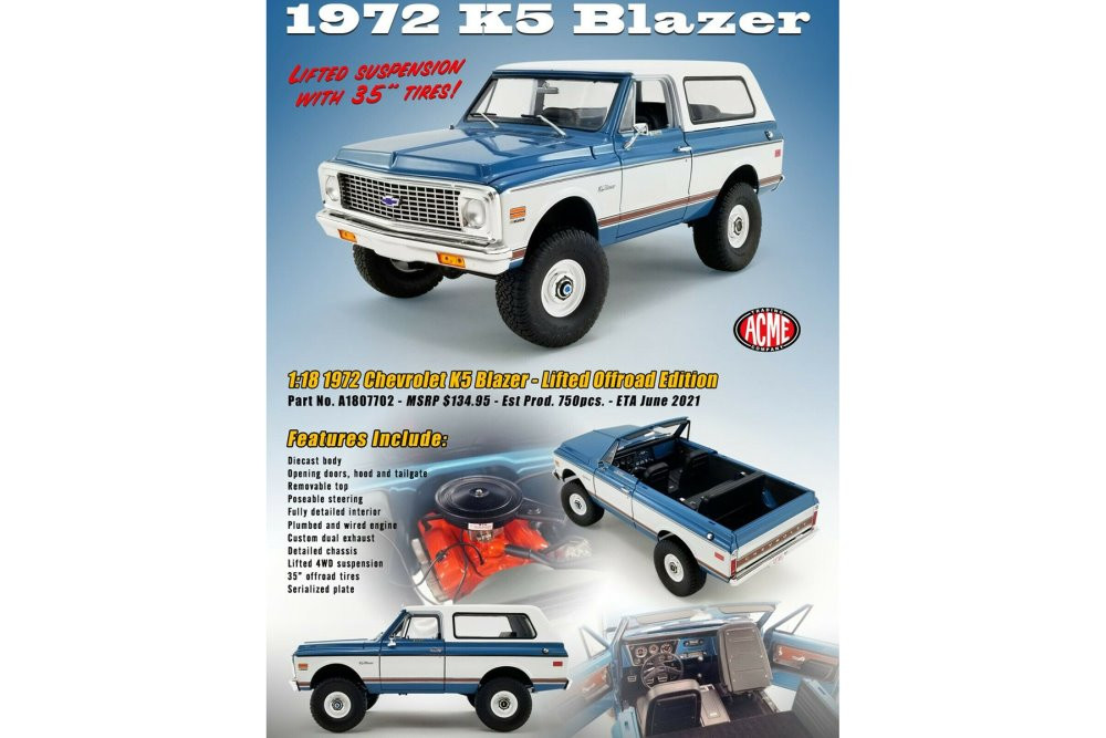 1972 Chevy K5 Blazer - Lifted Version, Blue and White - Acme A1807702 - 1/18 scale Diecast Model Toy Car