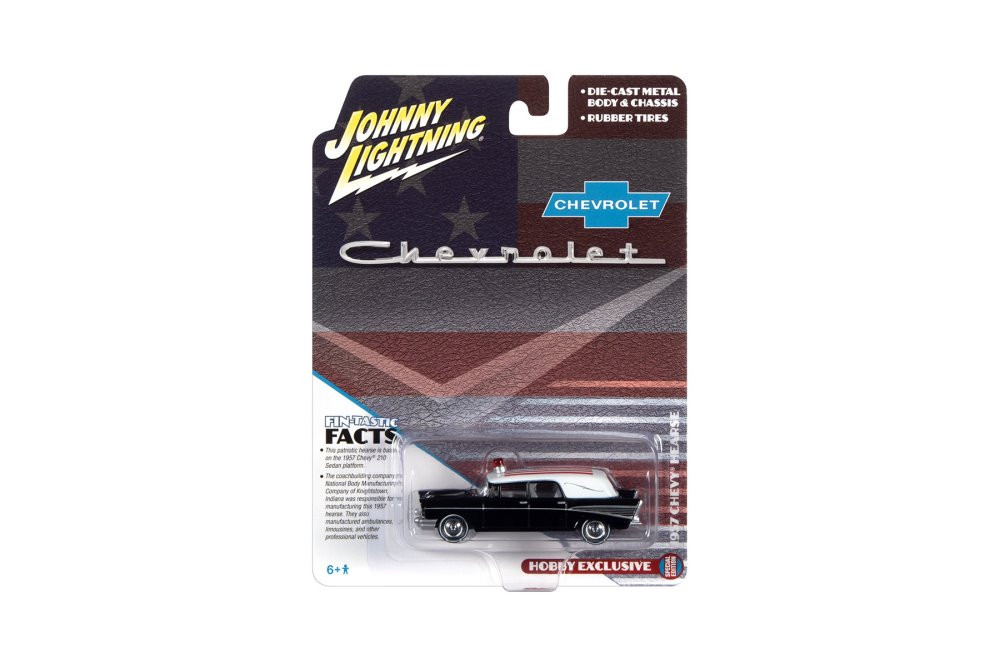 1957 Chevy Hearse with American Flag, Black and White - Johnny Lightning JLSP144/24 - 1/64 scale Diecast Model Toy Car