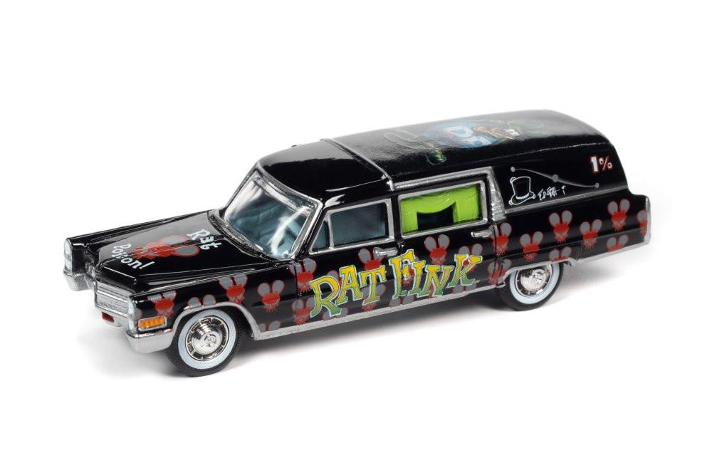 1966 Cadillac Hearse Rat Fink, Black - Johnny Lightning JLSP142/24 - 1/64 scale Diecast Model Toy Car