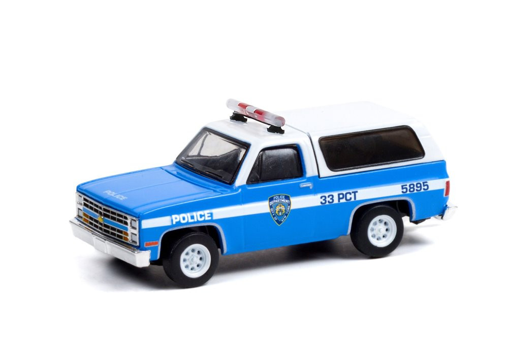 New York City Police Department 1985 Chevy K-5 Blazer, Blue and White - Greenlight 30245/48 - 1/64 scale Diecast Model Toy Car