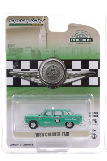 Zone Cab Co. 1969 Checker Taxi, Light Green - Greenlight 30232/48 - 1/64 scale Diecast Model Toy Car