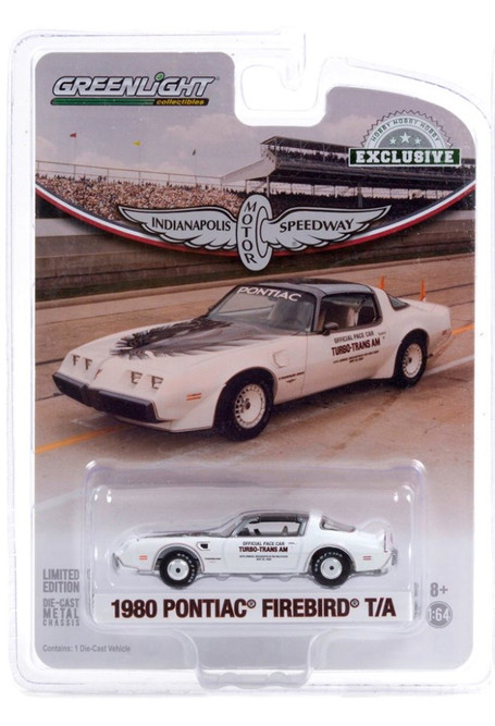 1980 Pontiac Firebird Trans Am T/A 64th Annual Indianapolis 500 Mile Race, White and Black - Greenlight 30226/48 - 1/64 scale Diecast Model Toy Car
