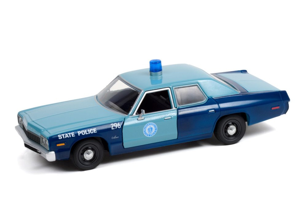 Massachusetts State Police 1975 Dodge Monaco, Blue - Greenlight 85532/12 - 1/24 scale Diecast Model Toy Car