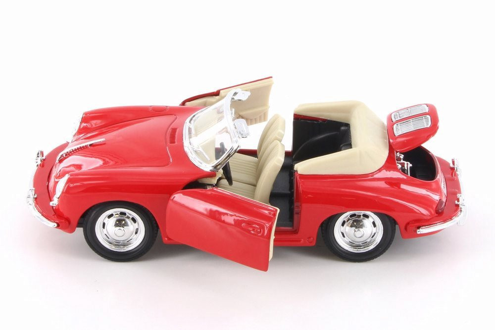 Porsche 356B Convertible, Red - Welly 29390/4D - 1/24 Scale Diecast Model Toy Car