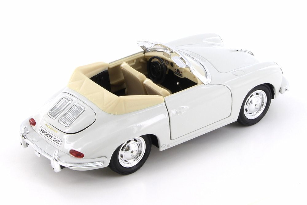 Porsche 356B Convertible, Cream White w/ Black - Welly 29390/4D - 1/24 Scale Diecast Model Toy Car