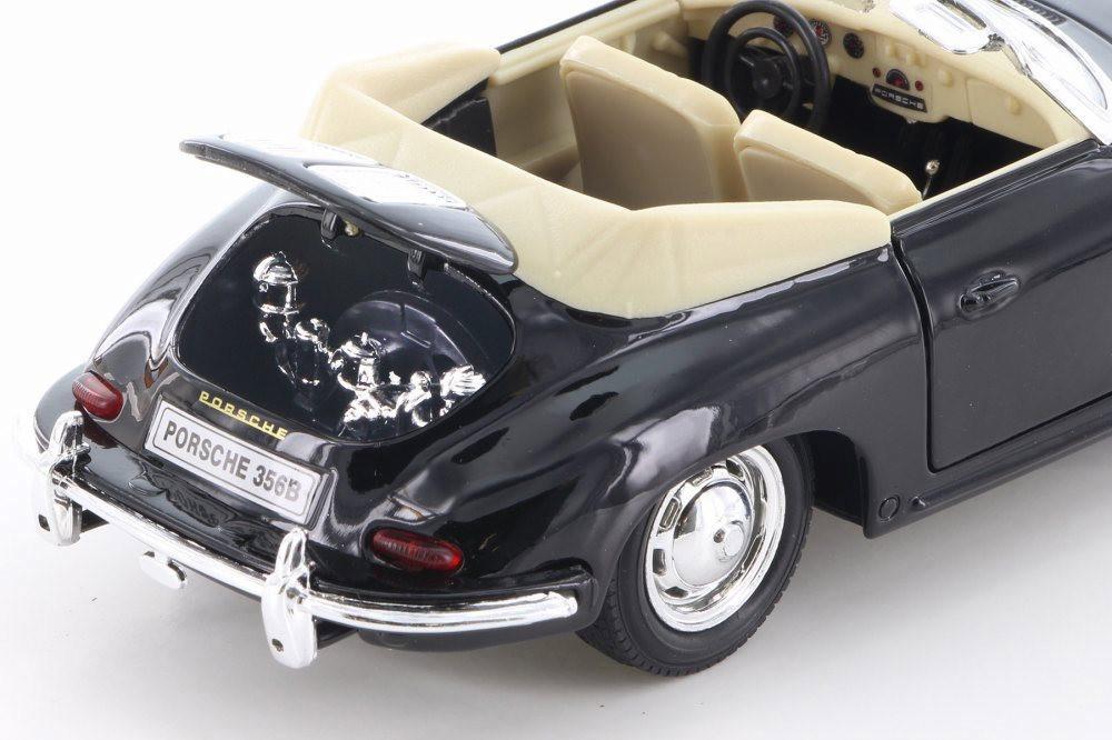 Porsche 356B Convertible, Black w/ Tan - Welly 29390/4D - 1/24 Scale Diecast Model Toy Car