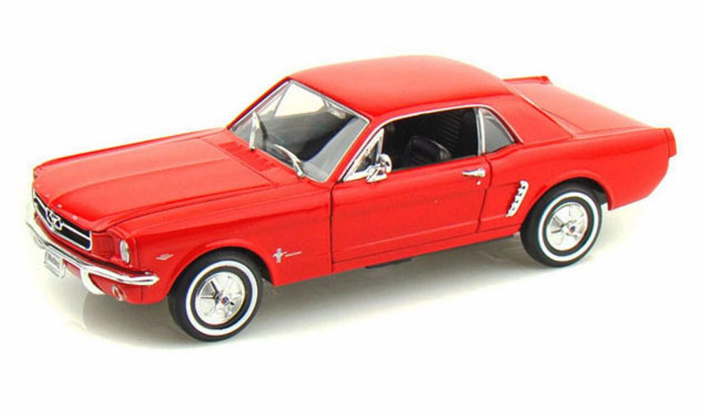 1964 1/2 Ford Mustang Coupe, Red - Welly 22451- 1/24 Scale Diecast Model Toy Car (Brand New, but NOT IN BOX)